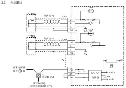 图7  三线式pt100接线方法     5  结束语